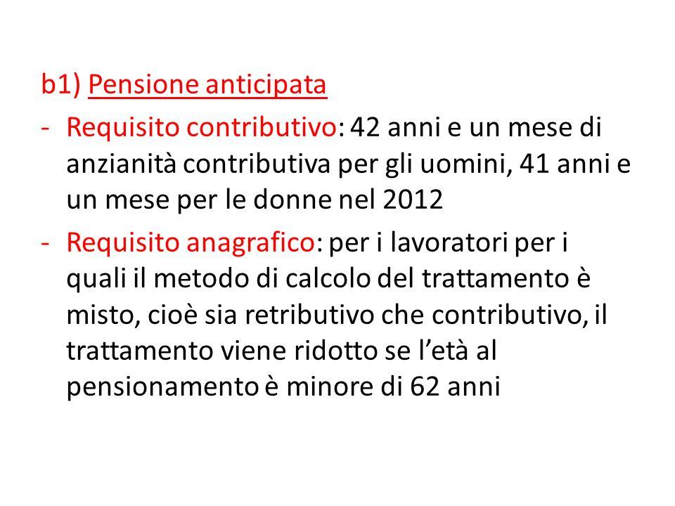 Ferrera, Le politiche sociali, Il Mulino, 2012 Capitolo II. La politica pensionistica b1) Pensione anticipata -Requisito contributivo: 42 anni e un me