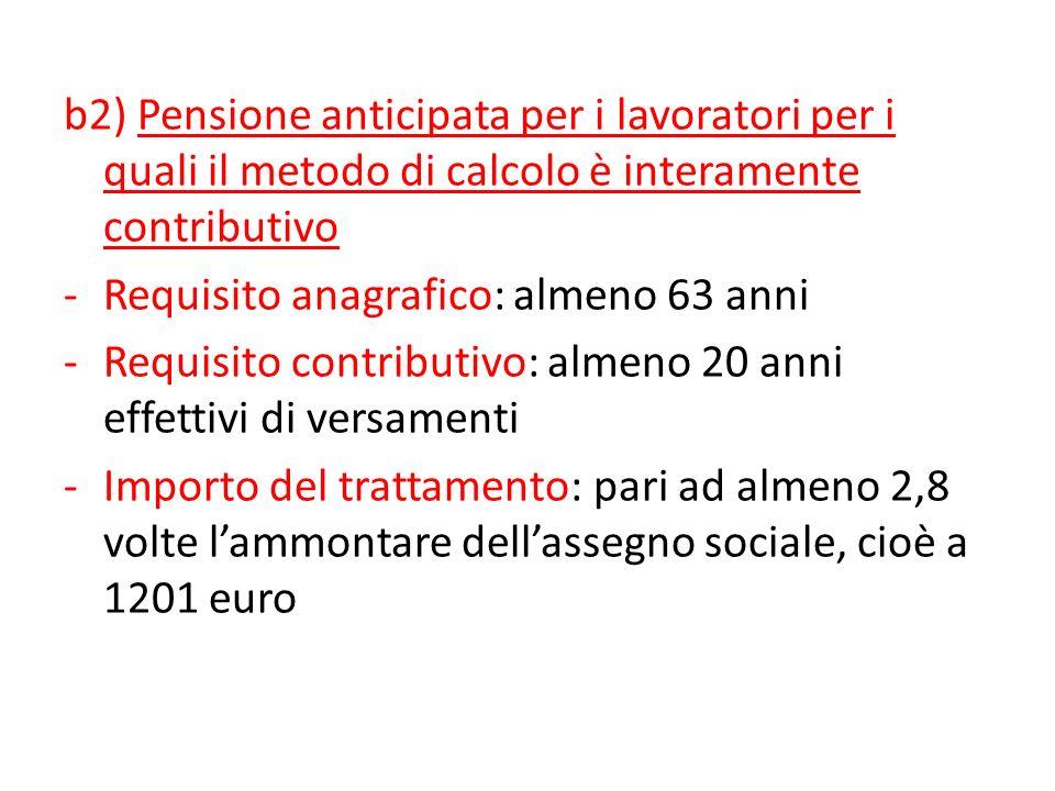 Ferrera, Le politiche sociali, Il Mulino, 2012 Capitolo II. La politica pensionistica b2) Pensione anticipata per i lavoratori per i quali il metodo d