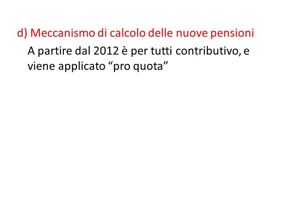 Ferrera, Le politiche sociali, Il Mulino, 2012 Capitolo II. La politica pensionistica d) Meccanismo di calcolo delle nuove pensioni A partire dal 2012