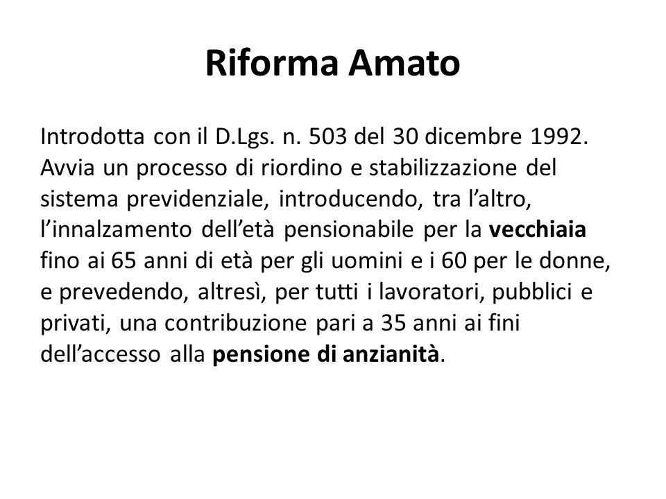 Ferrera, Le politiche sociali, Il Mulino, 2012 Capitolo II. La politica pensionistica Riforma Amato Introdotta con il D.Lgs. n. 503 del 30 dicembre 19