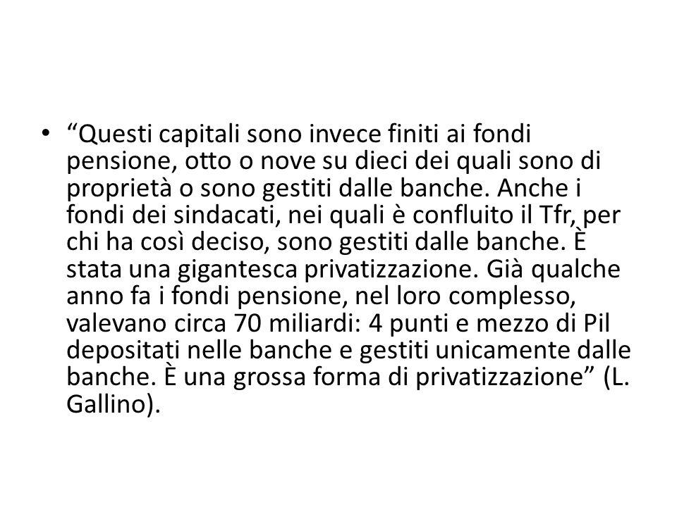 Ferrera, Le politiche sociali, Il Mulino, 2012 Capitolo II. La politica pensionistica Questi capitali sono invece finiti ai fondi pensione, otto o nov