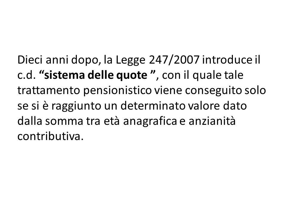 Ferrera, Le politiche sociali, Il Mulino, 2012 Capitolo II. La politica pensionistica Dieci anni dopo, la Legge 247/2007 introduce il c.d. sistema del