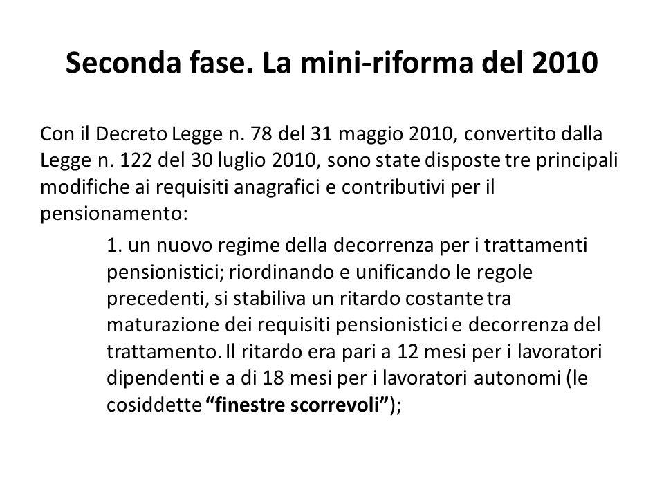 Ferrera, Le politiche sociali, Il Mulino, 2012 Capitolo II. La politica pensionistica Seconda fase. La mini-riforma del 2010 Con il Decreto Legge n. 7