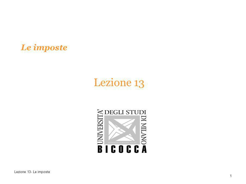 Le imposte Lezione 13 1 Lezione 13- Le imposte