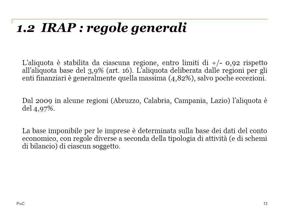 PwC 1.2 IRAP : regole generali 13 Laliquota è stabilita da ciascuna regione, entro limiti di +/- 0,92 rispetto allaliquota base del 3,9% (art. 16). La