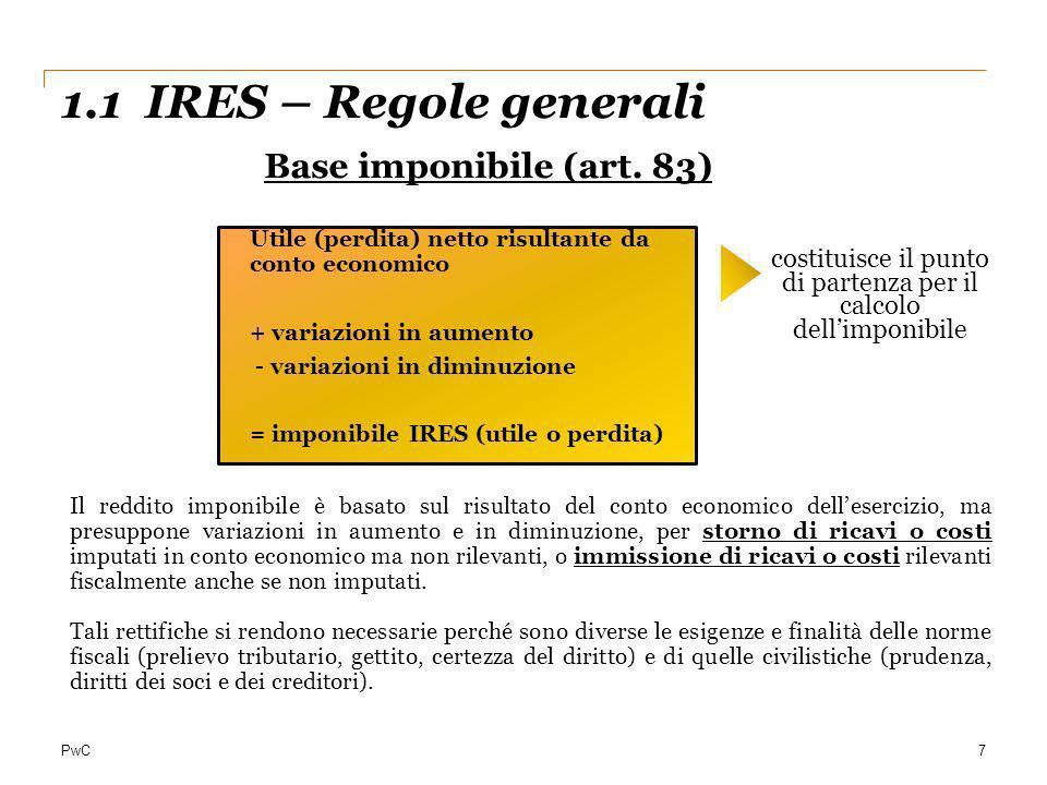 PwC 1.1 IRES – Regole generali 7 Base imponibile (art. 83) Utile (perdita) netto risultante da conto economico + variazioni in aumento - variazioni in