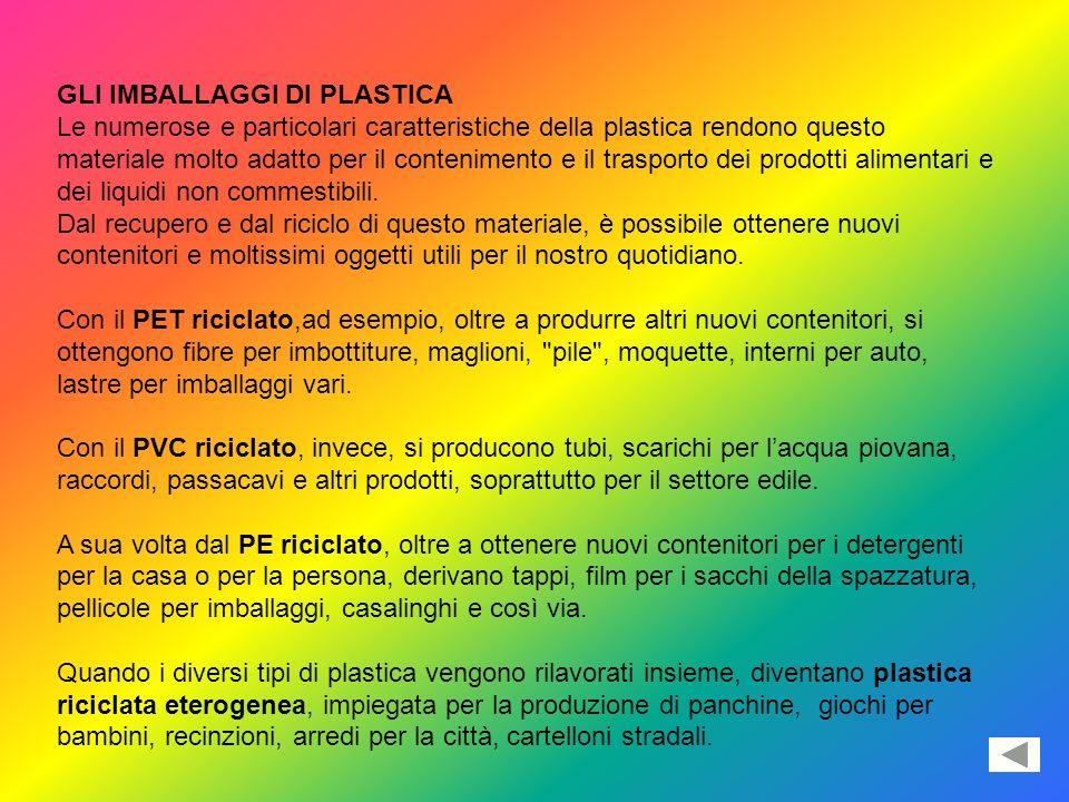 GLI IMBALLAGGI DI PLASTICA Le numerose e particolari caratteristiche della plastica rendono questo materiale molto adatto per il contenimento e il tra