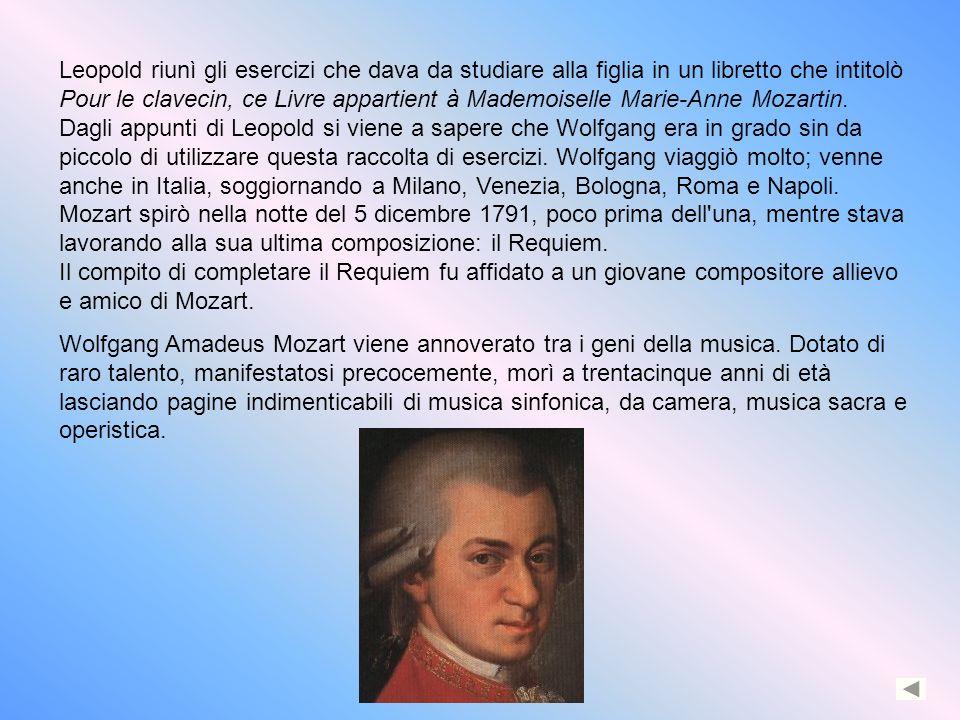 Leopold riunì gli esercizi che dava da studiare alla figlia in un libretto che intitolò Pour le clavecin, ce Livre appartient à Mademoiselle Marie-Ann