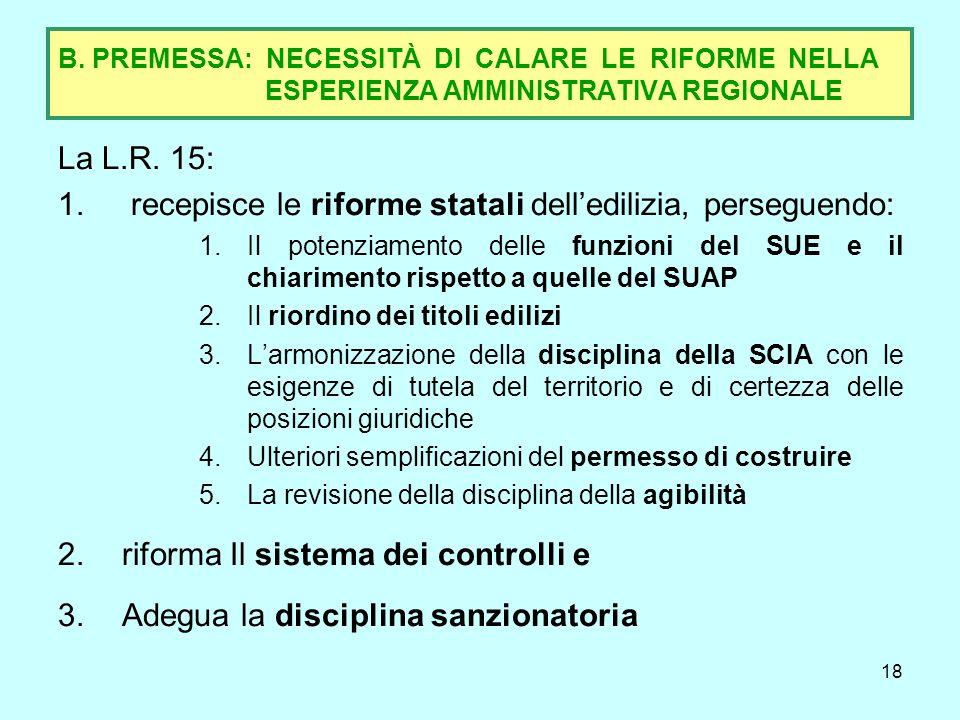 19 B.2 - RIORDINO DEL SISTEMA DEI TITOLI EDILIZI La L.15 ha previsto: a)LA RIDUZIONE DEL NUMERO DEI TITOLI EDILIZI, attraverso la soppressione: –della DIA come titolo autonomo, nei casi in cui sia prevista dal DPR 380 come alternativa al permesso di costruire (c.d.
