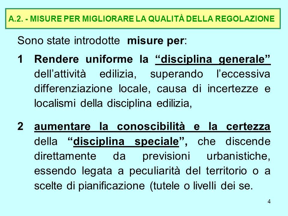 5 A.2.1- Misure per rendere uniforme la disciplina generale edilizia 1.
