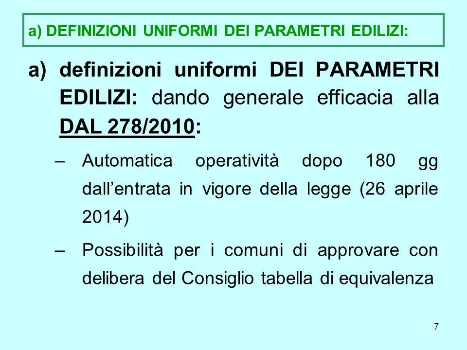 8 b) DEFINIZIONI UNIFORMI DEGLI INTERVENTI EDILIZI b)Definizioni uniformi DEGLI INTERVENTI EDILIZI: -Contenute nellAllegato alla legge, -a sua volta conforme alle definizioni statali: -Es.