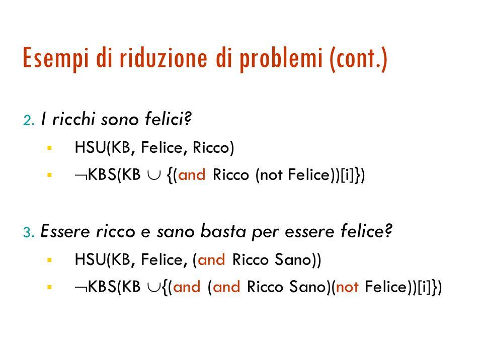 Esempi di riduzione di problemi Per essere felici bisogna essere ricchi e sani (e in alcuni casi non basta) T-BOX: Felice (and Ricco Sano) 1. Una pers