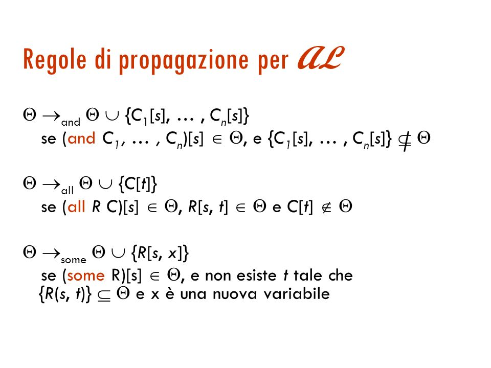 Regole di propagazione Regola di propagazione: è una funzione da un insieme di vincoli ad un insieme di vincoli. Un insieme di vincoli è completo se n