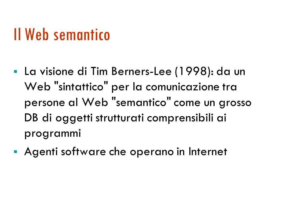 Il Web semantico La visione di Tim Berners-Lee (1998): da un Web sintattico per la comunicazione tra persone al Web semantico come un grosso DB di oggetti strutturati comprensibili ai programmi Agenti software che operano in Internet