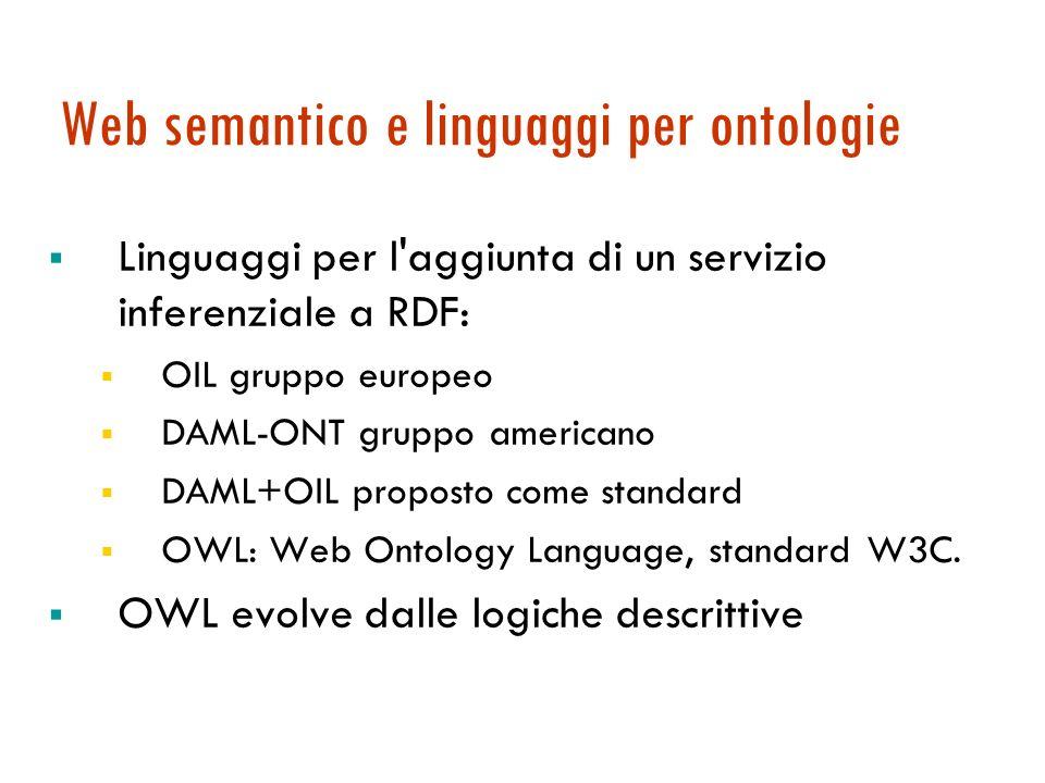 Web semantico e linguaggi per ontologie Linguaggi per l aggiunta di un servizio inferenziale a RDF: OIL gruppo europeo DAML-ONT gruppo americano DAML+OIL proposto come standard OWL: Web Ontology Language, standard W3C.