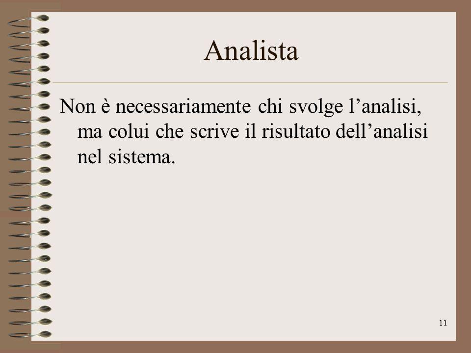 11 Analista Non è necessariamente chi svolge lanalisi, ma colui che scrive il risultato dellanalisi nel sistema.