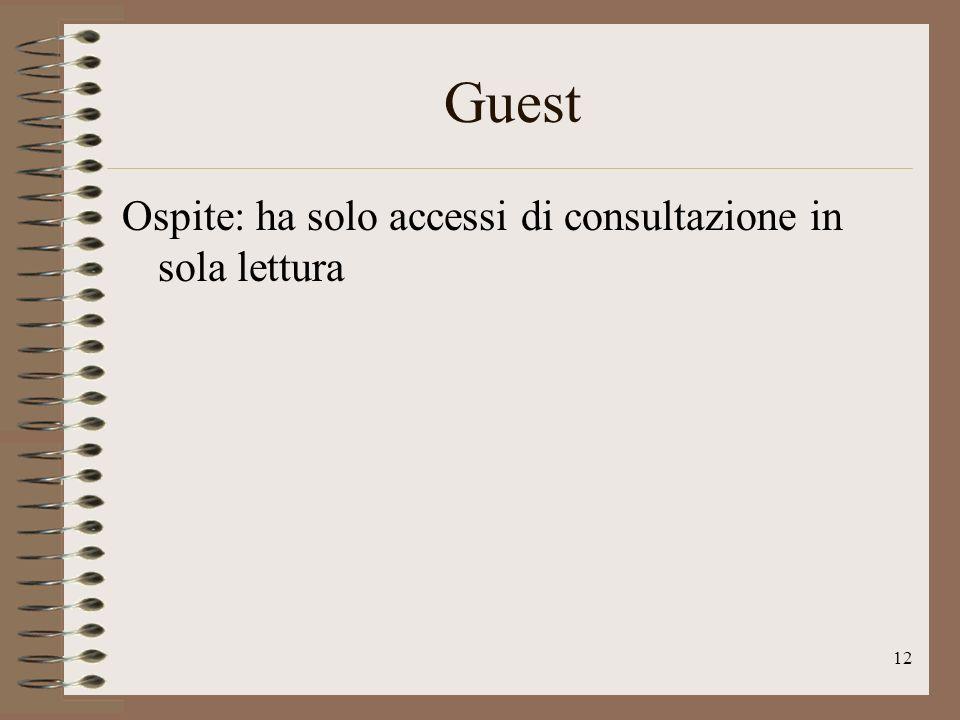 12 Guest Ospite: ha solo accessi di consultazione in sola lettura