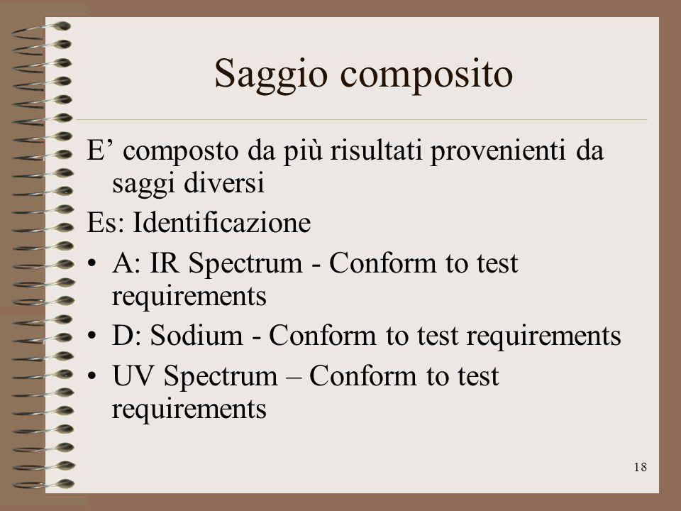 18 Saggio composito E composto da più risultati provenienti da saggi diversi Es: Identificazione A: IR Spectrum - Conform to test requirements D: Sodi