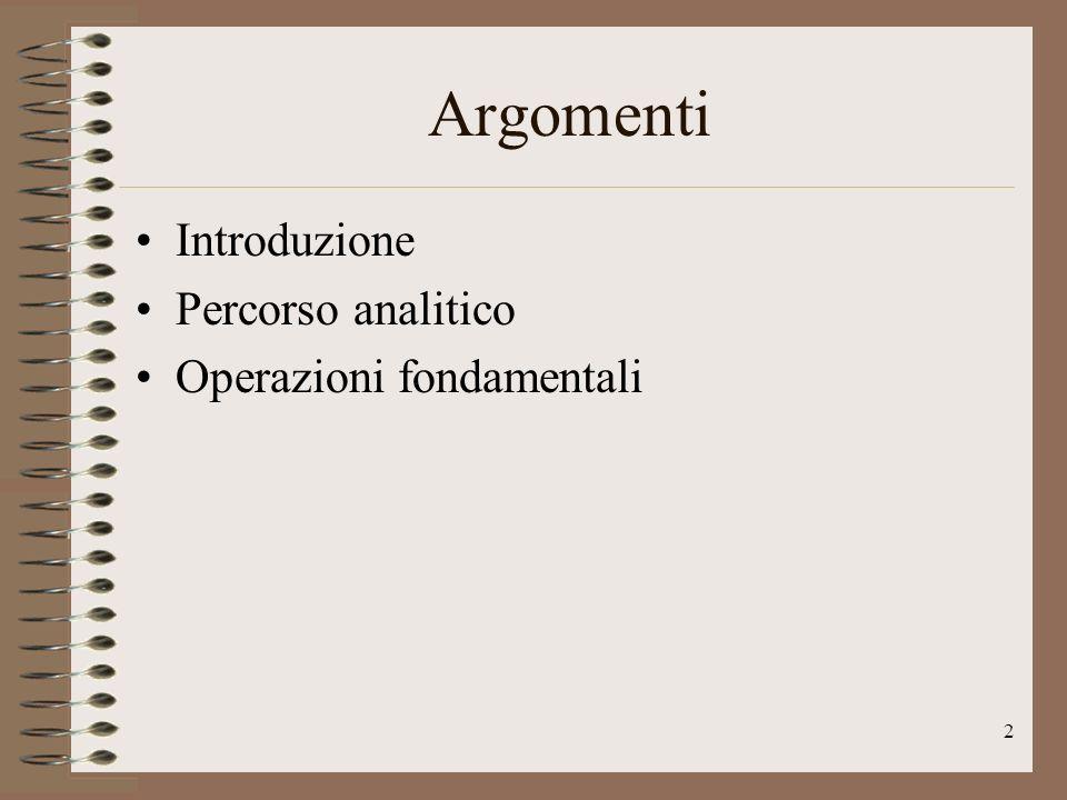 2 Argomenti Introduzione Percorso analitico Operazioni fondamentali