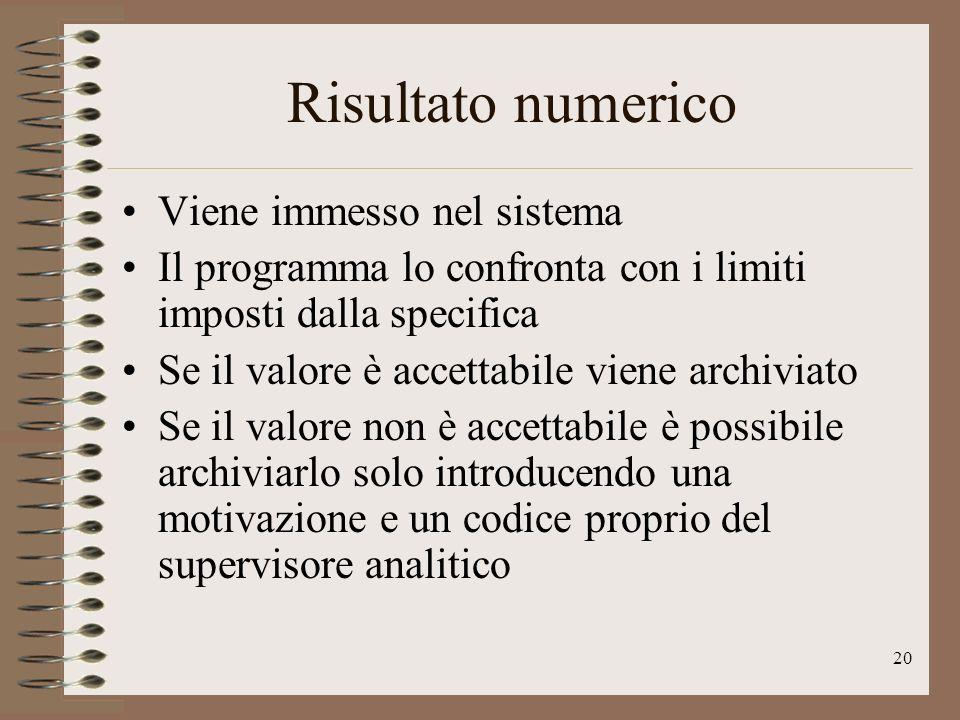 20 Risultato numerico Viene immesso nel sistema Il programma lo confronta con i limiti imposti dalla specifica Se il valore è accettabile viene archiv