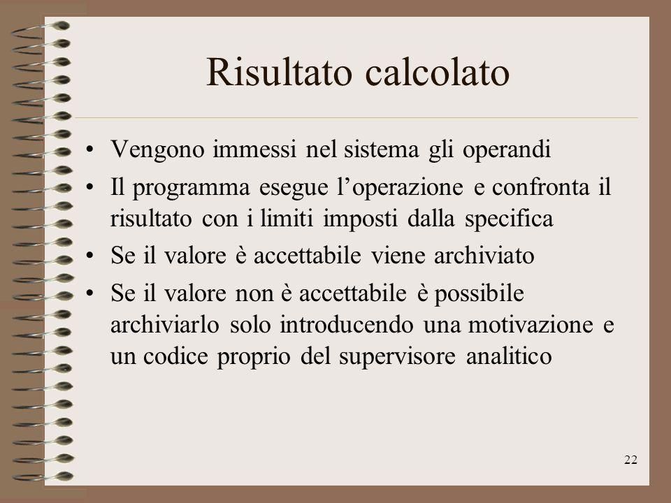 22 Risultato calcolato Vengono immessi nel sistema gli operandi Il programma esegue loperazione e confronta il risultato con i limiti imposti dalla sp