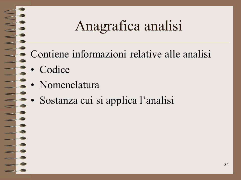 31 Anagrafica analisi Contiene informazioni relative alle analisi Codice Nomenclatura Sostanza cui si applica lanalisi