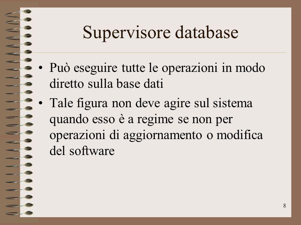 8 Supervisore database Può eseguire tutte le operazioni in modo diretto sulla base dati Tale figura non deve agire sul sistema quando esso è a regime