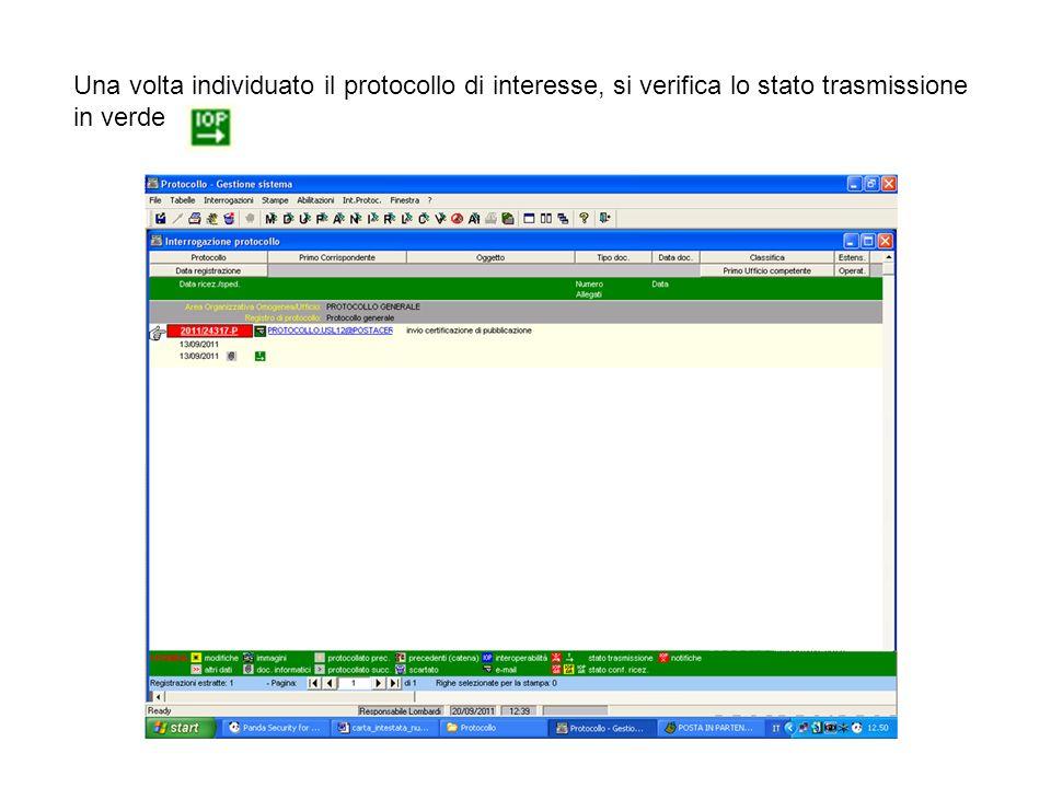 Una volta individuato il protocollo di interesse, si verifica lo stato trasmissione in verde