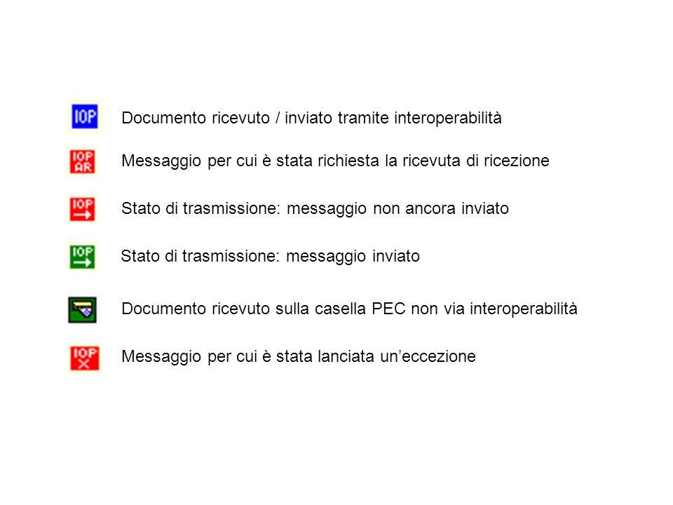 Documento ricevuto / inviato tramite interoperabilità Messaggio per cui è stata richiesta la ricevuta di ricezione Stato di trasmissione: messaggio no