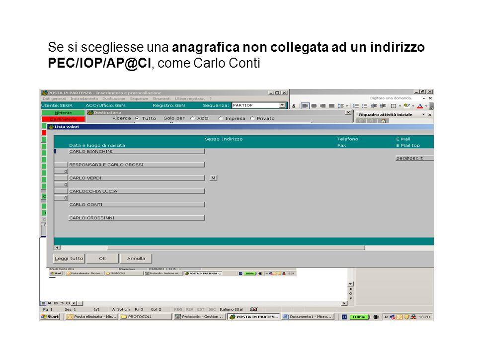 Se si scegliesse una anagrafica non collegata ad un indirizzo PEC/IOP/AP@CI, come Carlo Conti