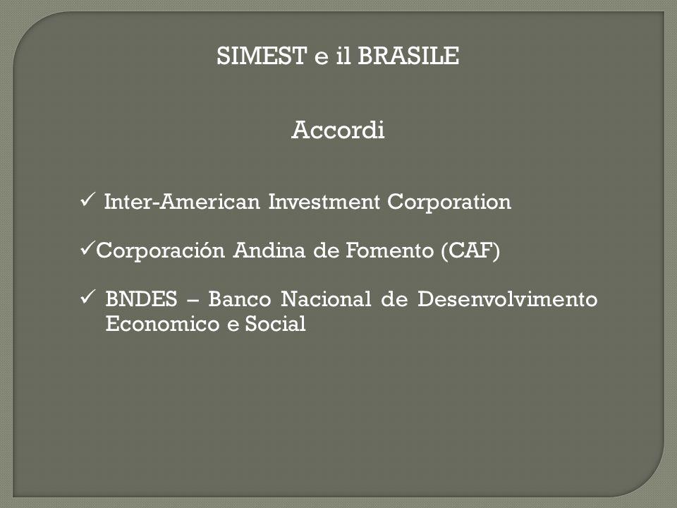 Inter-American Investment Corporation Corporación Andina de Fomento (CAF) BNDES – Banco Nacional de Desenvolvimento Economico e Social SIMEST e il BRASILE Accordi