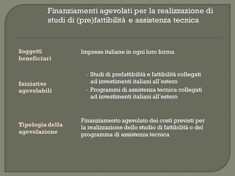 società locale Italiano SIMEST + Fondo di VC Fino al 49% del capitale Partner privati Brasiliano Riduzione interessi sul finanziamento quota italiana Collaborazione imprenditoriale italo- brasiliana