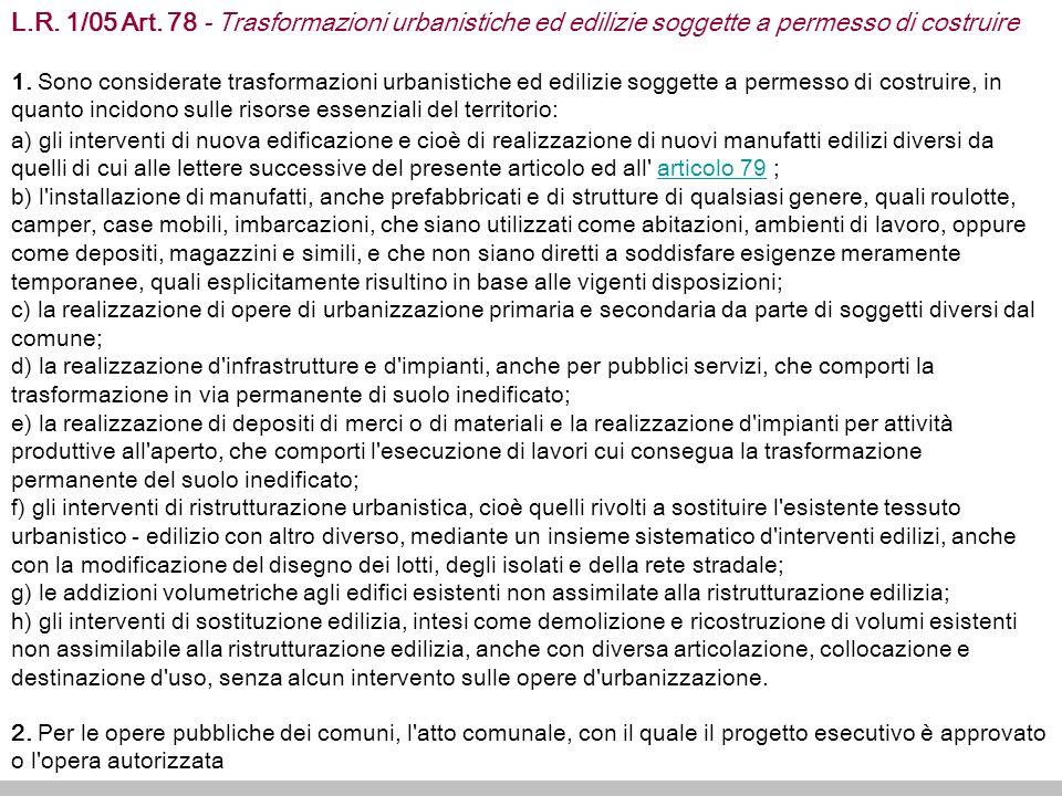 L.R.1/05 Art. 78 - Trasformazioni urbanistiche ed edilizie soggette a permesso di costruire 1.
