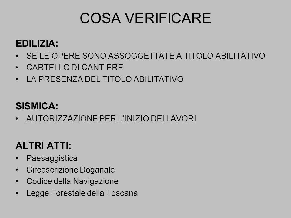 COSA VERIFICARE EDILIZIA: SE LE OPERE SONO ASSOGGETTATE A TITOLO ABILITATIVO CARTELLO DI CANTIERE LA PRESENZA DEL TITOLO ABILITATIVO SISMICA: AUTORIZZAZIONE PER LINIZIO DEI LAVORI ALTRI ATTI: Paesaggistica Circoscrizione Doganale Codice della Navigazione Legge Forestale della Toscana