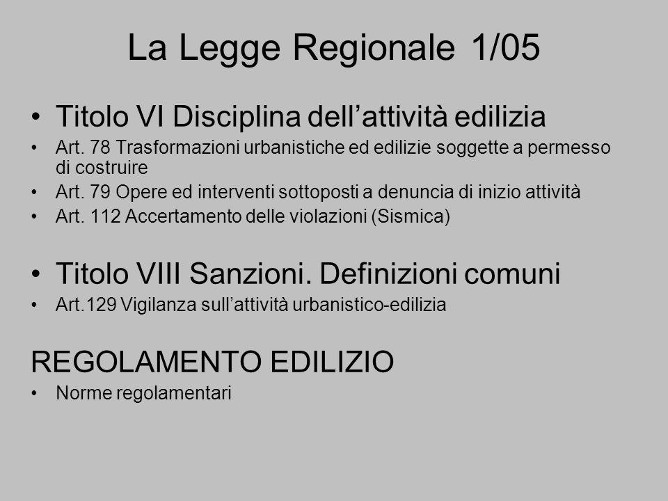 La Legge Regionale 1/05 Titolo VI Disciplina dellattività edilizia Art.