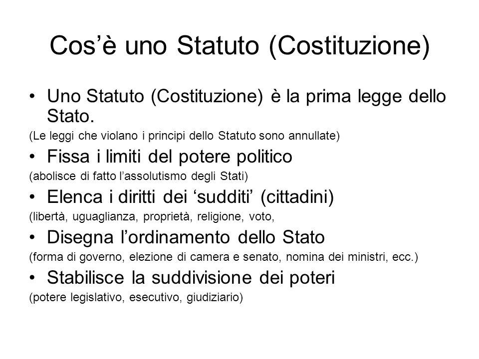 Cosè uno Statuto (Costituzione) Uno Statuto (Costituzione) è la prima legge dello Stato. (Le leggi che violano i principi dello Statuto sono annullate