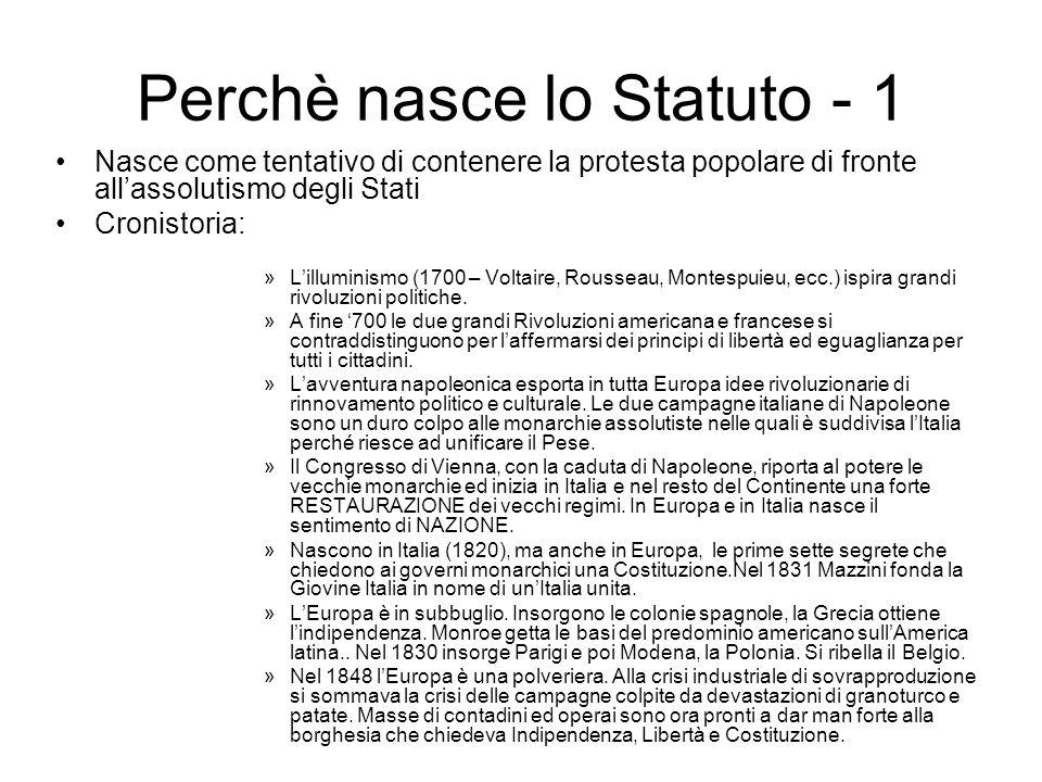 Perchè nasce lo Statuto - 1 Nasce come tentativo di contenere la protesta popolare di fronte allassolutismo degli Stati Cronistoria: »Lilluminismo (17