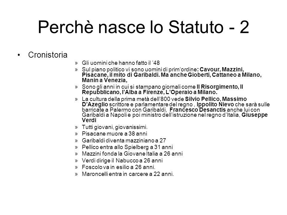 Perchè nasce lo Statuto - 2 Cronistoria »Gli uomini che hanno fatto il 48 »Sul piano politico vi sono uomini di primordine: Cavour, Mazzini, Pisacane,