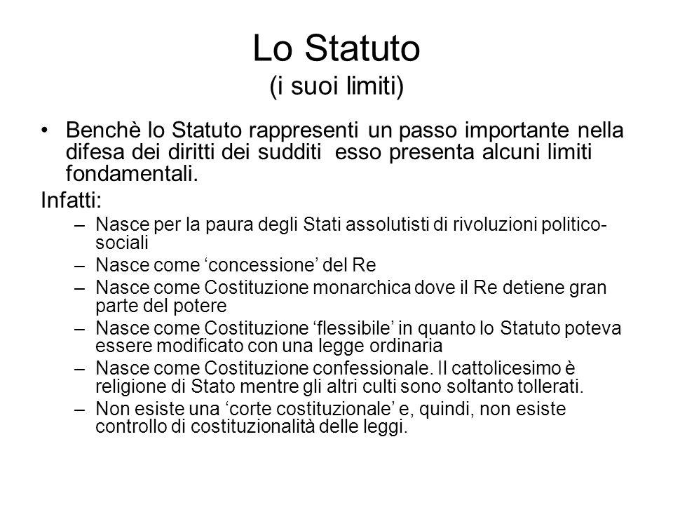 Lo Statuto (i suoi limiti) Benchè lo Statuto rappresenti un passo importante nella difesa dei diritti dei sudditi esso presenta alcuni limiti fondamen