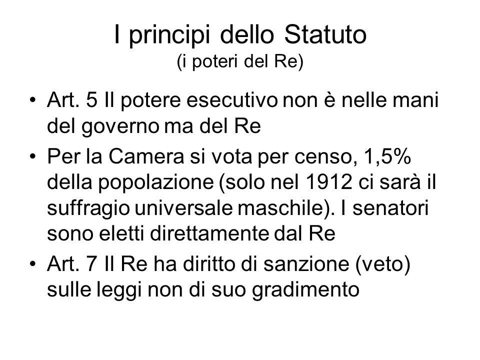 I principi dello Statuto (i poteri del Re) Art. 5 Il potere esecutivo non è nelle mani del governo ma del Re Per la Camera si vota per censo, 1,5% del
