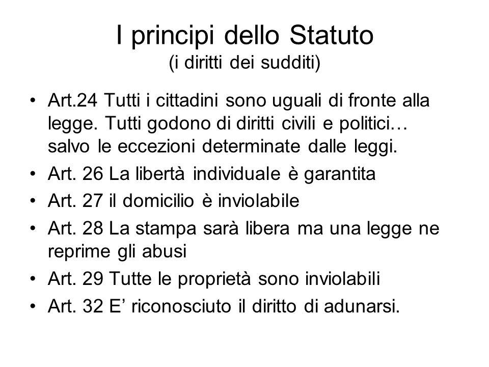 I principi dello Statuto (i diritti dei sudditi) Art.24 Tutti i cittadini sono uguali di fronte alla legge. Tutti godono di diritti civili e politici…
