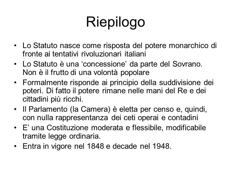 Riepilogo Lo Statuto nasce come risposta del potere monarchico di fronte ai tentativi rivoluzionari italiani Lo Statuto è una concessione da parte del