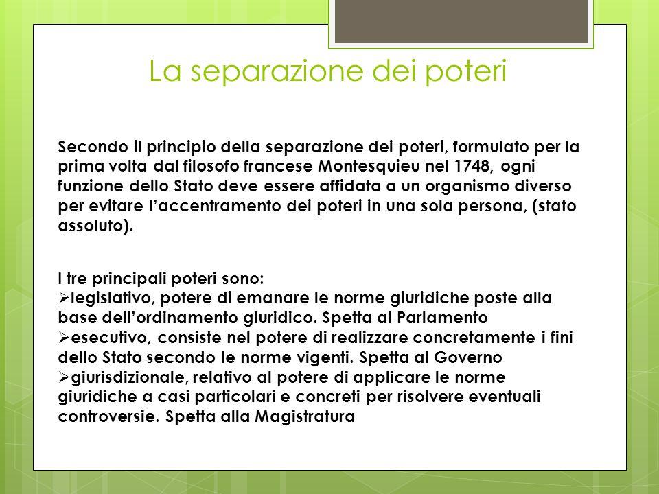 La separazione dei poteri Secondo il principio della separazione dei poteri, formulato per la prima volta dal filosofo francese Montesquieu nel 1748,