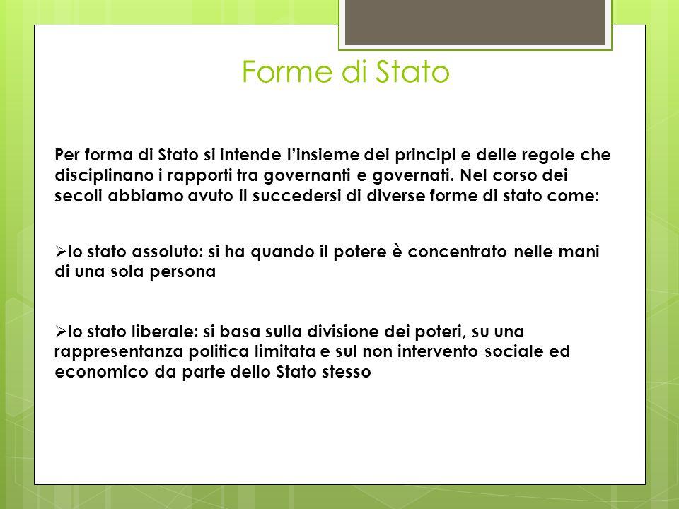 Forme di Stato Per forma di Stato si intende l insieme dei principi e delle regole che disciplinano i rapporti tra governanti e governati. Nel corso d