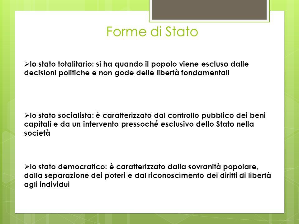 Forme di Stato lo stato totalitario: si ha quando il popolo viene escluso dalle decisioni politiche e non gode delle libertà fondamentali lo stato soc