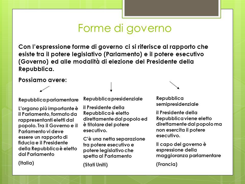 Forme di governo Con l espressione forme di governo ci si riferisce al rapporto che esiste tra il potere legislativo (Parlamento) e il potere esecutiv