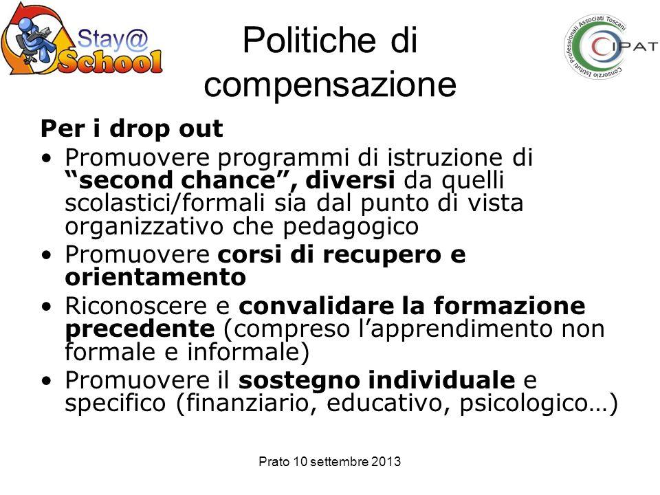 Prato 10 settembre 2013 Politiche di compensazione Per i drop out Promuovere programmi di istruzione di second chance, diversi da quelli scolastici/fo