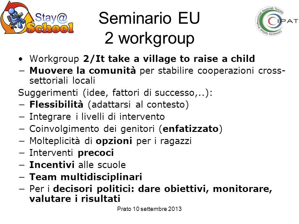 Prato 10 settembre 2013 Seminario EU 2 workgroup Workgroup 2/It take a village to raise a child Muovere la comunità per stabilire cooperazioni cross-