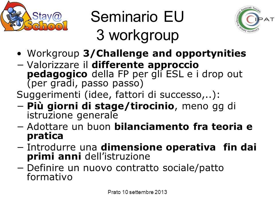 Prato 10 settembre 2013 Seminario EU 3 workgroup Workgroup 3/Challenge and opportynities Valorizzare il differente approccio pedagogico della FP per g