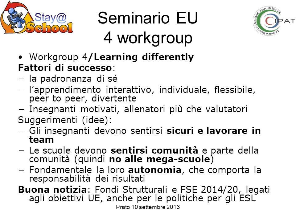 Prato 10 settembre 2013 Seminario EU 4 workgroup Workgroup 4/Learning differently Fattori di successo: la padronanza di sé lapprendimento interattivo,